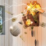Exploding cuckoo clock
