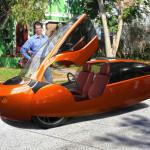 Futuristic car on street