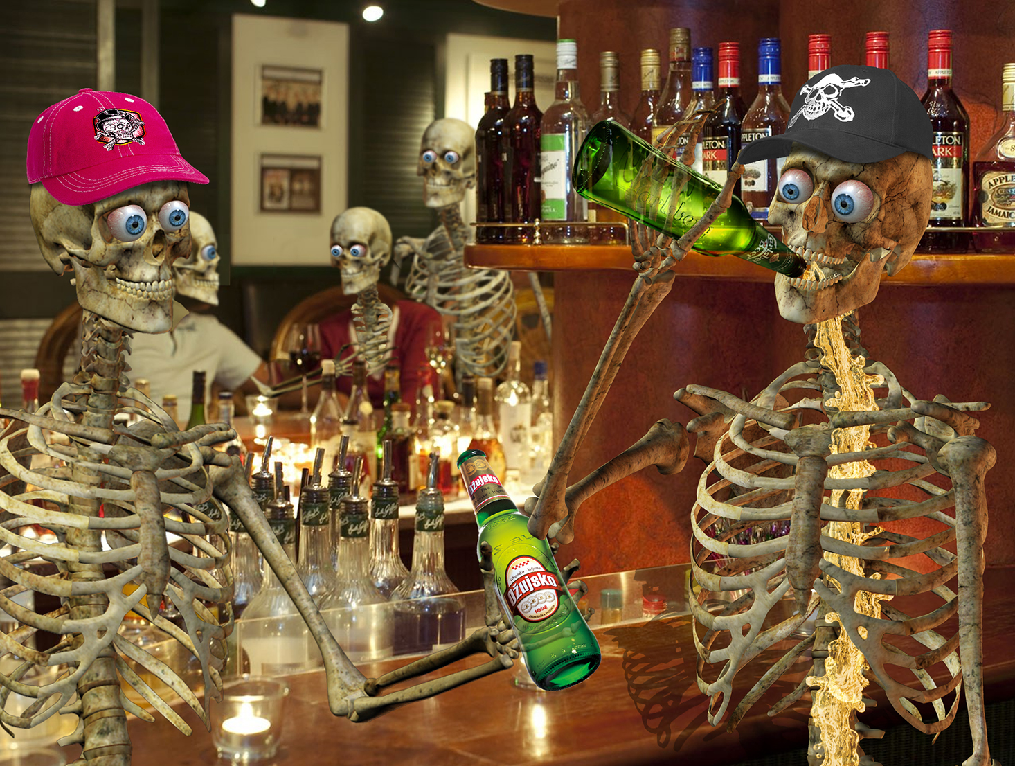 Skeleton in pub